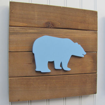 Bear Baby Decor, Woodland Nursery, Nursery Decor, Tribal Decor, Woodland Decor, Nursery Wall Art, Pallet Board, Pallet Sign, Woodland Animal