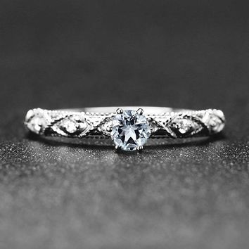 Art Deco Solid 14k White Gold Natural Diamond Engagement Wedding Ring Aquamarine for Women Fine Jewelry Anniversary