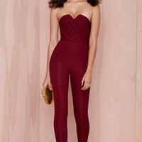 Red Tight Bandeau Jumpsuit
