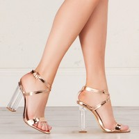 Strappy Lucite Sandal in Rose Gold