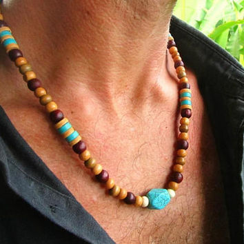 Turquoise Howlite, Coconut & Wooden beaded Men's Necklace  / Choker Style Tribal Surfer Boho Hipster Ethnic Necklace / Men's Jewelry