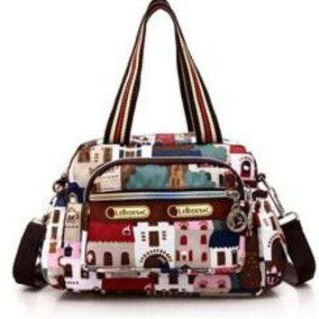 Nylon Oxford Fabric Floral Print Cross Body Tote-Bag