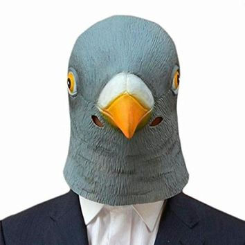 Hot Creepy Pigeon Head Mask 3D Latex Prop Animal Cosplay Costume Party Halloween Free