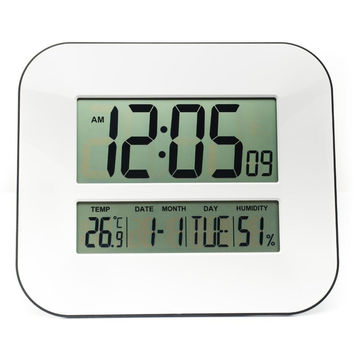 LCD Digital Wall Clock with Temperature Thermometer Humidity Hygrometer Big Number Table Desktop Alarm Snooze Calendar Clock