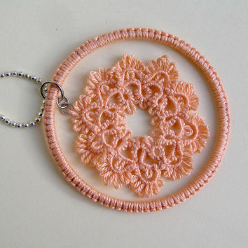 Tatted Lace pendant, Tatting, Frivolite, pendant, peach, Handmade, Jewellery, Fibre, Necklace, gift for her, Womens lace, My Wealth
