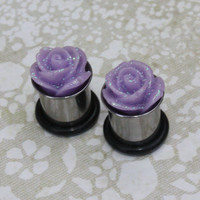 Glitter rose flower stainless steel plugs for gauged or stretched ears sizes: 14g, 12g, 10g, 8g, 6g, 4g, 2g, 0g, 00g