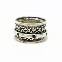 Shablool Didae Israel Sterling Silver Spinner Ring, Size 8, Onyx Ring, Vintage Jewelry, 925 Silver, Ladies Ring, Silver Ring, Spinning Ring