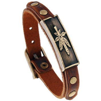 Alloy Leather Bracelet hemp Leaf Bracelet Wristband For Women Men