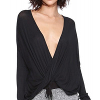 Deep V-neck Long Sleeve Wrapped Blouse