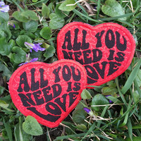 MADE TO ORDER All You Need Is Love handmade iron on heart patch, The Beatles, John Lennon, rock and roll, hippie, festival, tour, upcycled