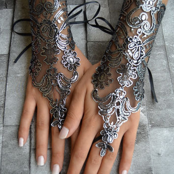 Gloves Black gothic lace unique gloves black wedding glove silver frame black lace cuffs lace gloves Fingerless Gloves Free Ship