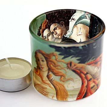 Botticelli Birth of Venus Glass Tealight Candleholder 2.3H