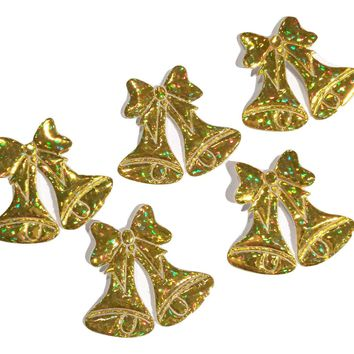 Gold holographic Jingle Bells padded appliqués