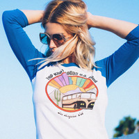 Top Knot Goods U.S. Tour Los Angeles Raglan tshirt- California- Womens tshirt- raglan tshirt- 70's tshirt- vintage inspired- Band t-shirt