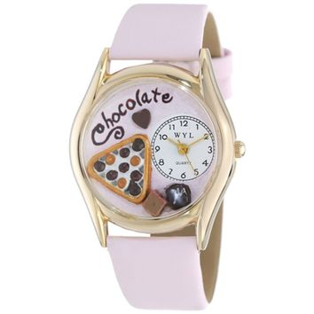 SheilaShrubs.com: Women's Chocolate Lover Pink Leather Watch C-0310005 by Whimsical Watches: Watches