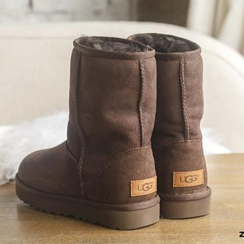 One-nice™ UGG Short boots antiskid warm lazy sheep fur simple ugg boots canister boots (5-color) Coffee