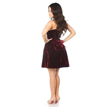 Daisy Corsets Plus Size Top Drawer Steel Boned Red Velvet Empire Waist Corset Dress