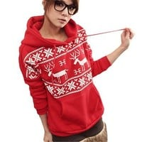 Women Pullover Deer Print Snowflakes Pattern Hooded Jacket (S, Red)