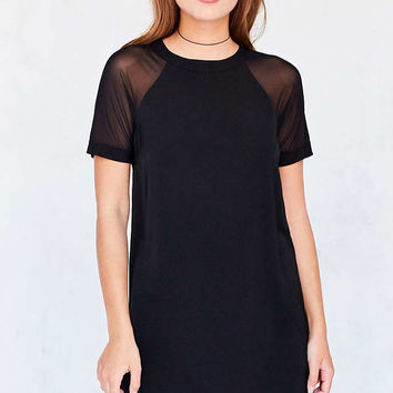 Silence + Noise Mesh Baseball Sleeve T-Shirt Dress - Urban Outfitters
