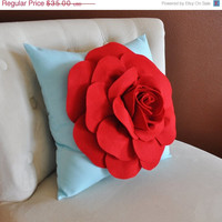MOTHERS DAY SALE Throw Pillow, Red Rose on Light Aqua Pillow Baby Nursery Decor