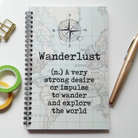 Writing journal, spiral notebook, sketchbook, bullet journal, vintage map, definition blank lined or grid paper, travel journal - Wanderlust