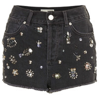 MOTO GEM EMBELLISHED SHORTS