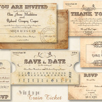 Printable VINTAGE WEDDING INVITATIONS Template Train by ABandIG