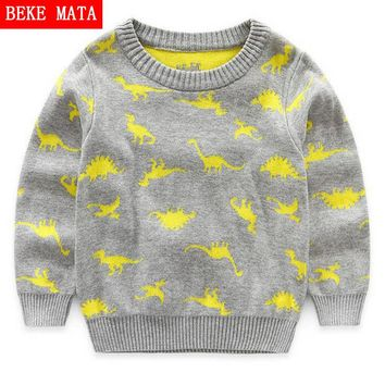 BEKE MATA Knitted Baby Boy Sweater Casual Winter 2016 Cartoon Dinosaur Pattern Warm Cotton Boys Sweater And Pullovers Children