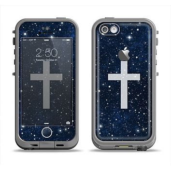 The Vector White Cross v2 over Bright Starry Sky Apple iPhone 5c LifeProof Fre Case Skin Set