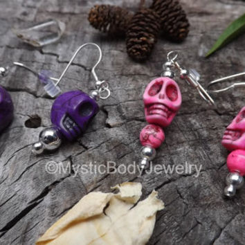 20g Skull Earrings Pink Purple Skulls Dia de Muertos Dangle Calavera Day of the Dead Pair Silver Mexican Shrunken Heads Halloween Earring