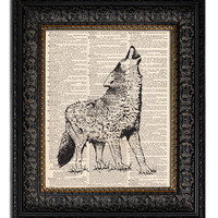 HOWLING WOLF Dictionary Art Print