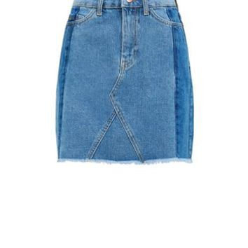 Blue Patchwork Denim Mini Skirt | New Look