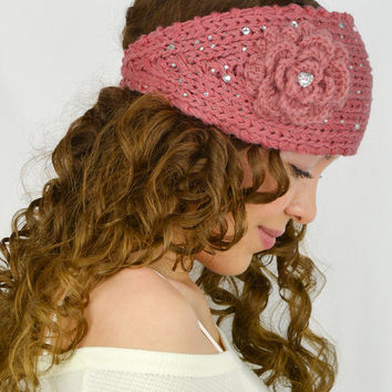 Dusty Rose Knit Headband Flower knit ear warmers hand knitted headband crochet head band knit head wrap crochet earwarmers cable knit women