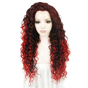 Auburn Red Ombre Wavy Curly Long Synthetice Lace front Wig
