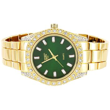 Men's Presidential Gold Green Dial Prong Set Bezel 41mm Watch