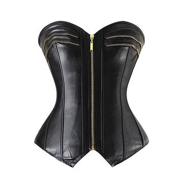 Topmelon Womens Black Faux Leather Zipper Front Bustier Corset Top