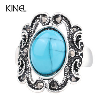 Turquoise Rings For Women Ancient Nepal Restoring Flower Carve Designs Engagement Rings