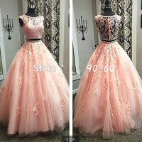 Lace Two 2 Piece Prom Dresses for Girls Long Ball Gown Women Promdress Formal Evening Dress for Graduation
