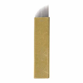 FlyItem 50 Pcs Gold 14Pin Professional Permanent Makeup Blades Microblading Needles Manual Eyebrow Tattoo Curved Blade For 3D Embroidery Manual Tattoo Pen Machine Makeup Cosmetic Tool (Gold 14 Pin)
