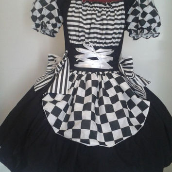 OOAK Halloween Costume Womens Harlequin Dress Cute Evil Clown Costume Black and White Large