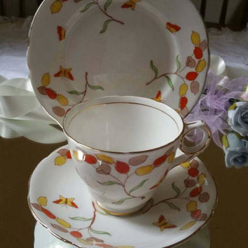 Royal Stafford bone china trio Art Deco handpainted HONESTY pattern/English china tea cup saucer and tea plate 1940s /ships worldwide