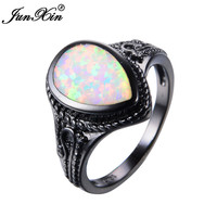 JUNXIN Big Water Drop Design White Opal Ring Vintage Black Gold Wedding Rings For Men And Women Fashion Jewelry