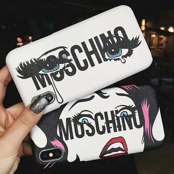 Moschino New fashion letter lip print glasses couple protective cover phone case
