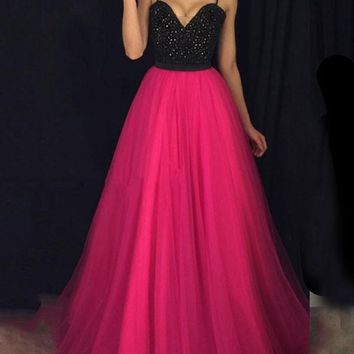 New Rose Carmine Patchwork Grenadine Sequin Spaghetti Strap Backless Sparkly Glitter Prom Evening Party Maxi Dress