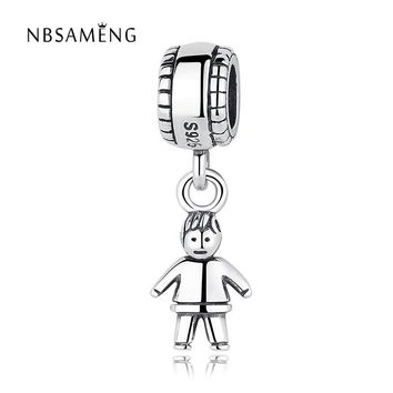 Authentic 925 Sterling Silver Bead Charm Boy & Girl Beads Fit Women Pandora Bracelet &