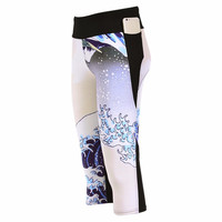 Surfing beach waves Capri Yoga Leggings