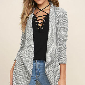 BB Dakota Patsy White and Grey Cardigan Sweater