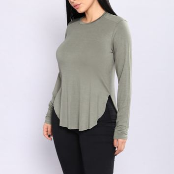 Eveline Basic Long Sleeve Tee - Olive
