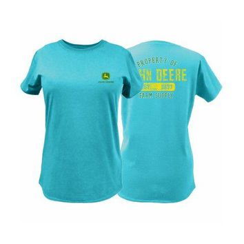 John Deere 23000001TQ04 Ladies T-Shirt w/John Deere Trademark, Turquoise, Medium
