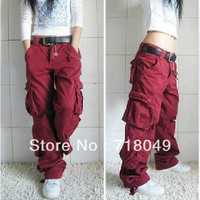 Cargo Pants Women Pants Dance Hiphop Trousers Overalls Multi-pocket Trousers Free Shipping 4 Colors Plus Size
